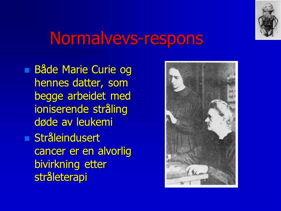 Normalvevs-respons n Både Marie Curie og hennes datter, som begge arbeidet med ioniserende stråling døde av leukemi n Stråleindusert cancer er en alvo