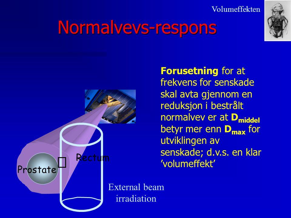Normalvevs-respons Prostate Rectum External beam irradiation Forusetning for at frekvens for senskade skal avta gjennom en reduksjon i bestrålt normal
