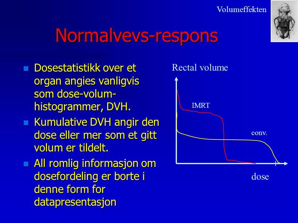 Normalvevs-respons n Dosestatistikk over et organ angies vanligvis som dose-volum- histogrammer, DVH. n Kumulative DVH angir den dose eller mer som et