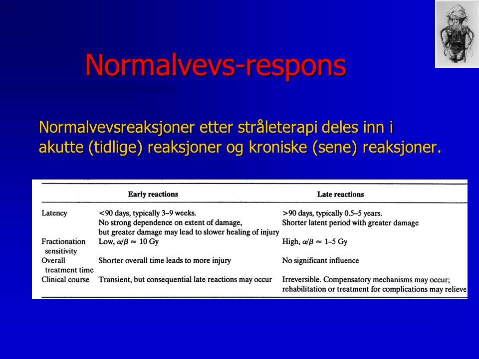 Normalvevs-respons n Økende bestrålt volum gir redusert toleranse n Toleransedose ved et gitt lungevolum er avhengig av hvor i lungen det bestrålte volum befinner seg.