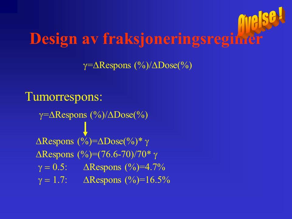 Design av fraksjoneringsregimer  =  Respons (%)/  Dose(%) Tumorrespons:  =  Respons (%)/  Dose(%)  Respons (%)=  Dose(%)*   Respons (%)=(76.6-70)/70*   Respons (%)=4.7%  Respons (%)=16.5%