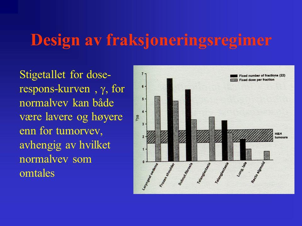 Design av fraksjoneringsregimer Stigetallet for dose- respons-kurven, , for normalvev kan både være lavere og høyere enn for tumorvev, avhengig av hvilket normalvev som omtales