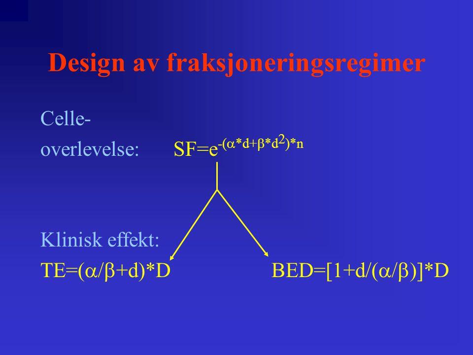 Design av fraksjoneringsregimer Effekt av endret total behandlingstid: BED eff =BED-K*(T-T d ) H&NBrystProst.Senbiv.