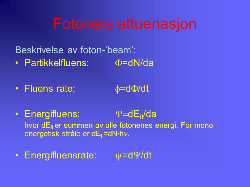Fotoners attuenasjon Beskrivelse av foton-'beam': Partikkelfluens:  =dN/da Fluens rate:  =d  /dt Energifluens:  dE fl /da hvor dE fl er summen av