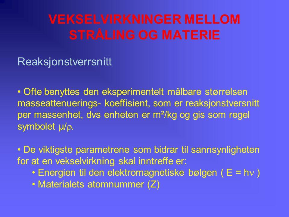 VEKSELVIRKNINGER MELLOM STRÅLING OG MATERIE Spredning er en prosess hvor elektromagnetisk stråling absorberes for seinere å reemiteres (10-15 s).