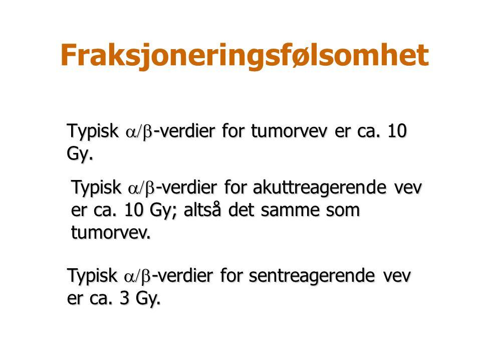 Fraksjoneringsfølsomhet Typisk  -verdier for tumorvev er ca. 10 Gy. Typisk  -verdier for sentreagerende vev er ca. 3 Gy. Typisk  -verdier for