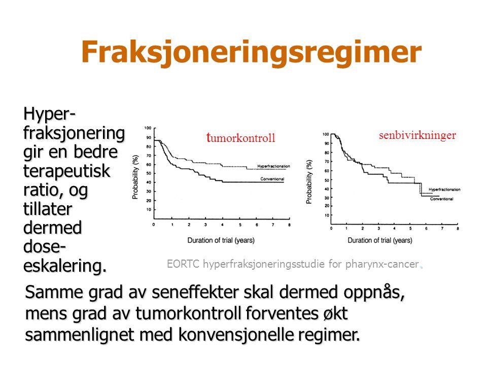 Fraksjoneringsregimer. EORTC hyperfraksjoneringsstudie for pharynx-cancer. t umorkontroll senbivirkninger Hyper- fraksjonering gir en bedre terapeutis
