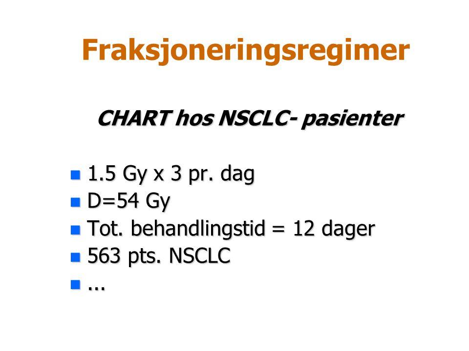 Fraksjoneringsregimer CHART hos NSCLC- pasienter n 1.5 Gy x 3 pr. dag n D=54 Gy n Tot. behandlingstid = 12 dager n 563 pts. NSCLC n...