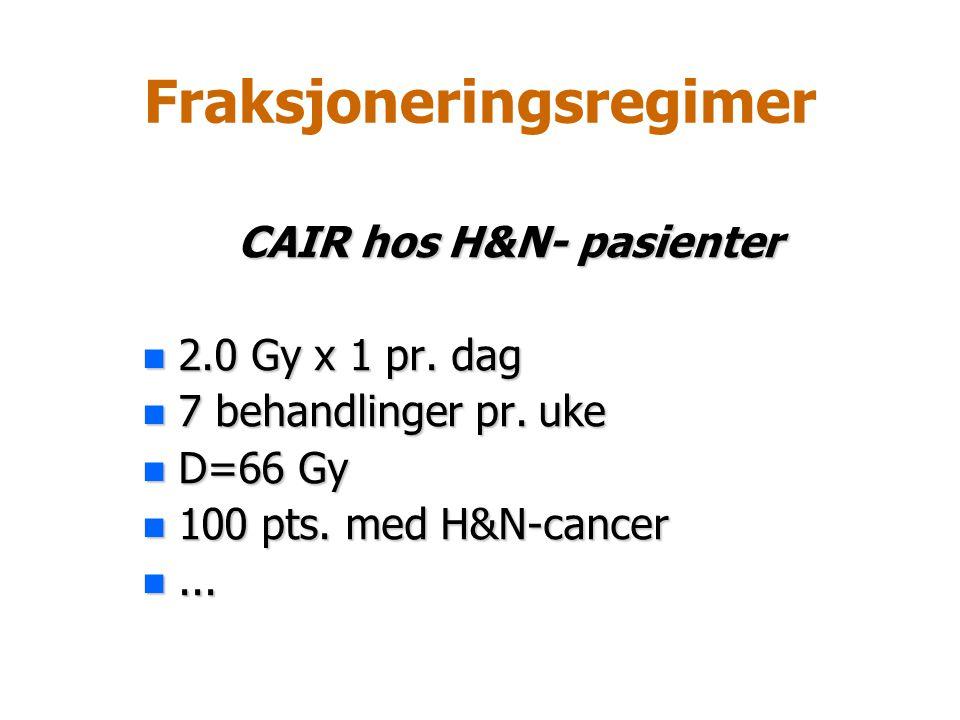 Fraksjoneringsregimer CAIR hos H&N- pasienter n 2.0 Gy x 1 pr. dag n 7 behandlinger pr. uke n D=66 Gy n 100 pts. med H&N-cancer n...