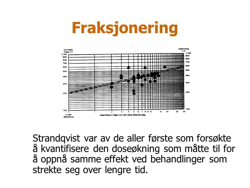 Fraksjonering Strandqvist var av de aller første som forsøkte å kvantifisere den doseøkning som måtte til for å oppnå samme effekt ved behandlinger so