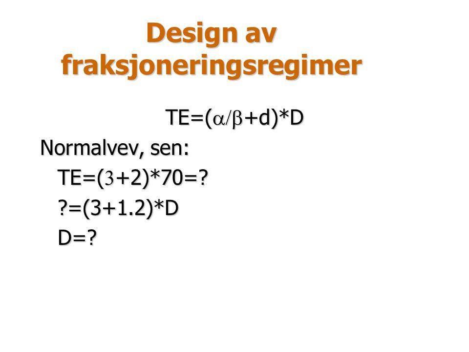 Design av fraksjoneringsregimer TE=(  +d)*D Normalvev, sen: TE=(  +2)*70=? ?=(3+1.2)*DD=?
