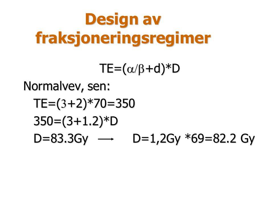 Design av fraksjoneringsregimer TE=(  +d)*D Normalvev, sen: TE=(  +2)*70=350 350=(3+1.2)*D D=83.3GyD=1,2Gy *69=82.2 Gy