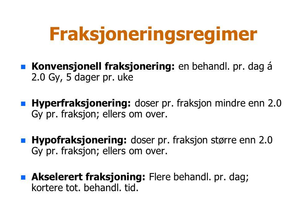 Fraksjoneringsregimer n n Konvensjonell fraksjonering: en behandl. pr. dag á 2.0 Gy, 5 dager pr. uke n n Hyperfraksjonering: doser pr. fraksjon mindre