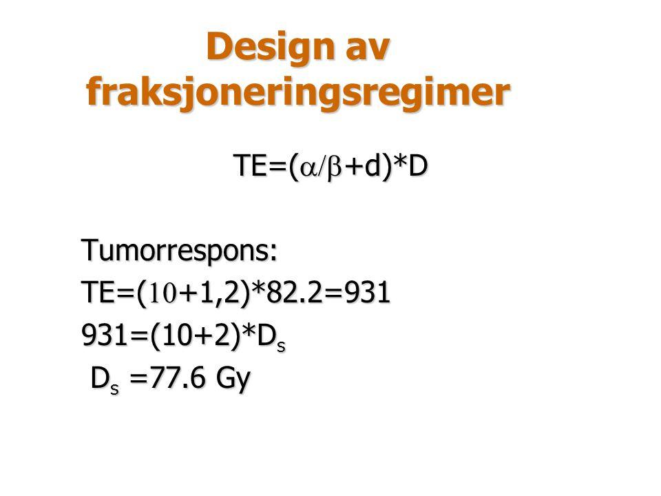 Design av fraksjoneringsregimer TE=(  +d)*D Tumorrespons: TE=(  +1,2)*82.2=931 931=(10+2)*D s D s =77.6 Gy D s =77.6 Gy