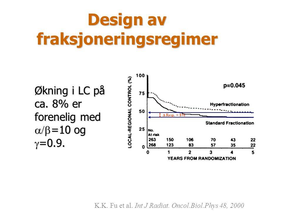 Design av fraksjoneringsregimer Økning i LC på ca. 8% er forenelig med  =10 og  =0.9. K.K. Fu et al. Int J Radiat. Oncol.Biol.Phys 48, 2000  Resp