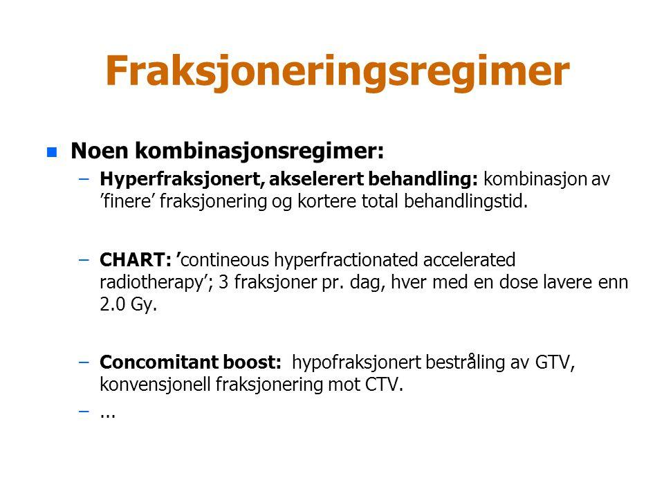 Fraksjoneringsregimer CHART hos NSCLC- pasienter n 1.5 Gy x 3 pr.