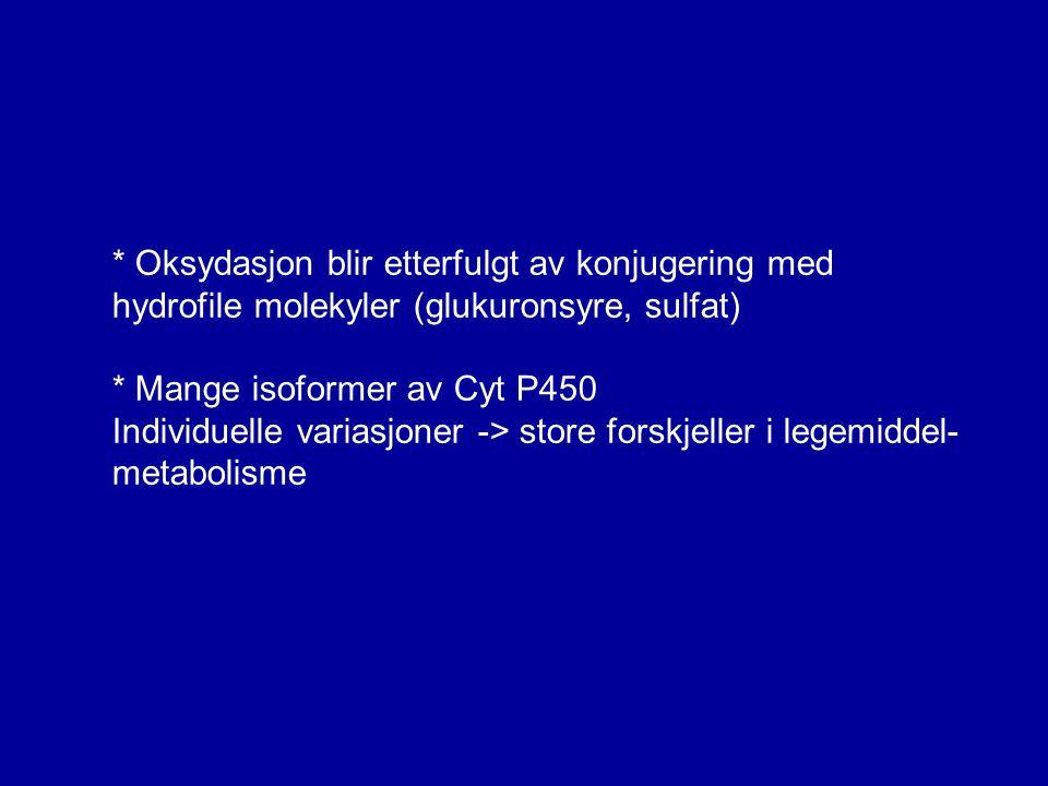 * Oksydasjon blir etterfulgt av konjugering med hydrofile molekyler (glukuronsyre, sulfat) * Mange isoformer av Cyt P450 Individuelle variasjoner -> s
