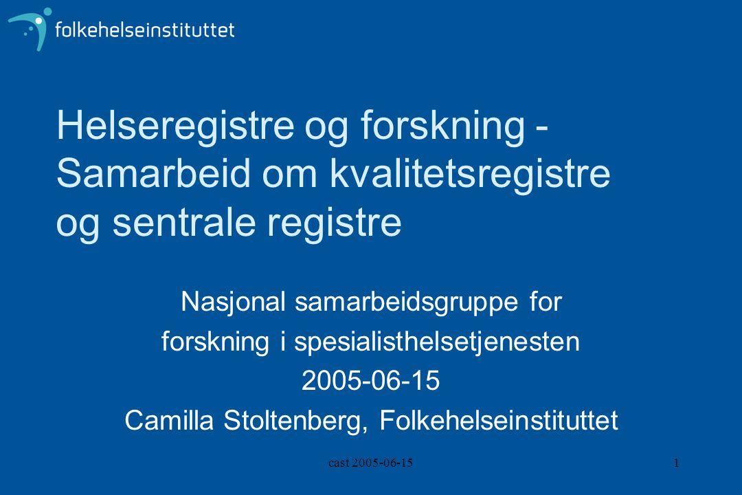cast 2005-06-151 Helseregistre og forskning - Samarbeid om kvalitetsregistre og sentrale registre Nasjonal samarbeidsgruppe for forskning i spesialisthelsetjenesten 2005-06-15 Camilla Stoltenberg, Folkehelseinstituttet
