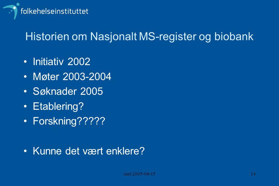 cast 2005-06-1514 Historien om Nasjonalt MS-register og biobank Initiativ 2002 Møter 2003-2004 Søknader 2005 Etablering? Forskning????? Kunne det vært