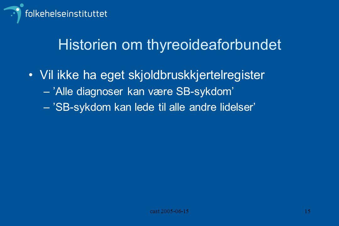 cast 2005-06-1515 Historien om thyreoideaforbundet Vil ikke ha eget skjoldbruskkjertelregister –'Alle diagnoser kan være SB-sykdom' –'SB-sykdom kan lede til alle andre lidelser'