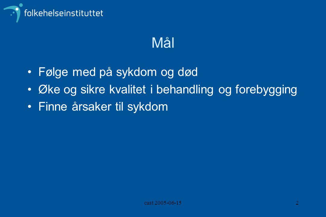 cast 2005-06-152 Mål Følge med på sykdom og død Øke og sikre kvalitet i behandling og forebygging Finne årsaker til sykdom