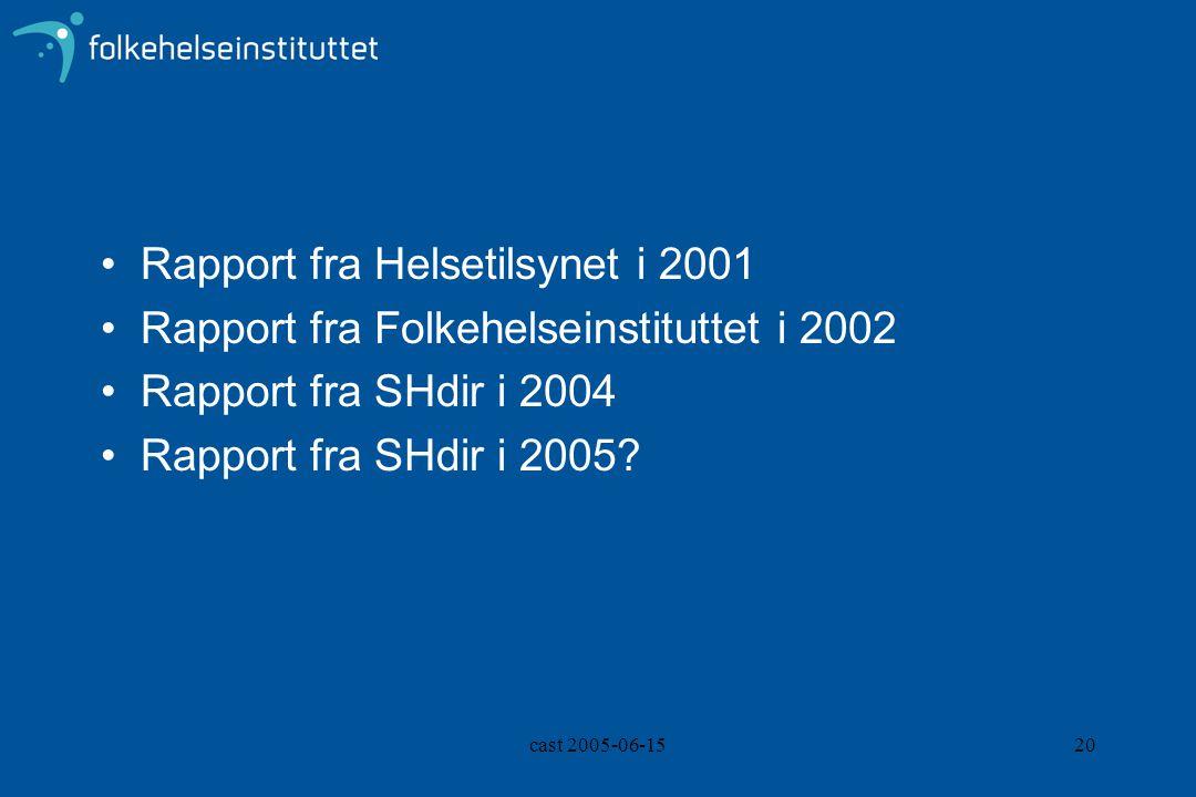 cast 2005-06-1520 Rapport fra Helsetilsynet i 2001 Rapport fra Folkehelseinstituttet i 2002 Rapport fra SHdir i 2004 Rapport fra SHdir i 2005?