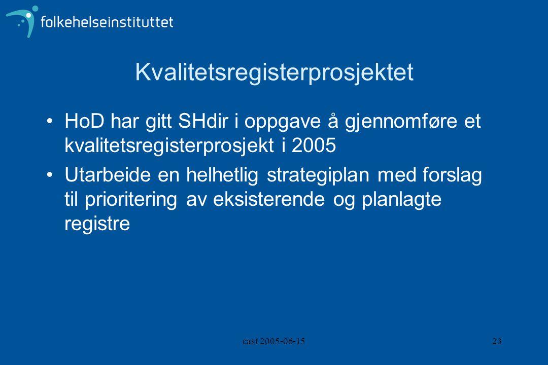 cast 2005-06-1523 Kvalitetsregisterprosjektet HoD har gitt SHdir i oppgave å gjennomføre et kvalitetsregisterprosjekt i 2005 Utarbeide en helhetlig strategiplan med forslag til prioritering av eksisterende og planlagte registre