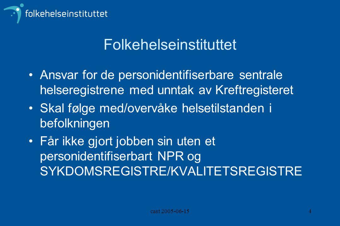 cast 2005-06-154 Folkehelseinstituttet Ansvar for de personidentifiserbare sentrale helseregistrene med unntak av Kreftregisteret Skal følge med/overv