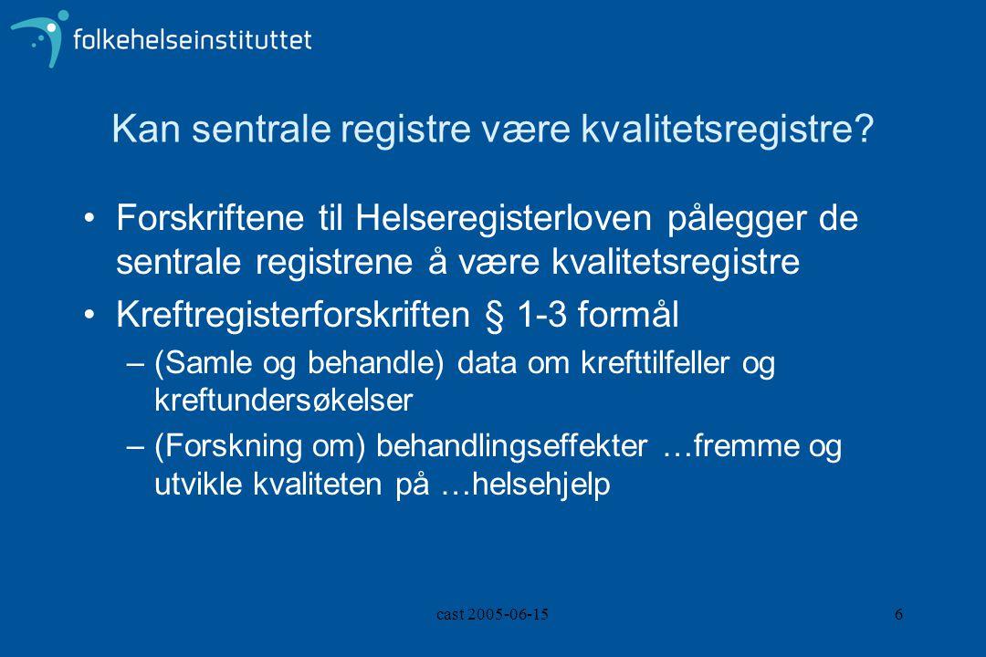cast 2005-06-156 Kan sentrale registre være kvalitetsregistre? Forskriftene til Helseregisterloven pålegger de sentrale registrene å være kvalitetsreg