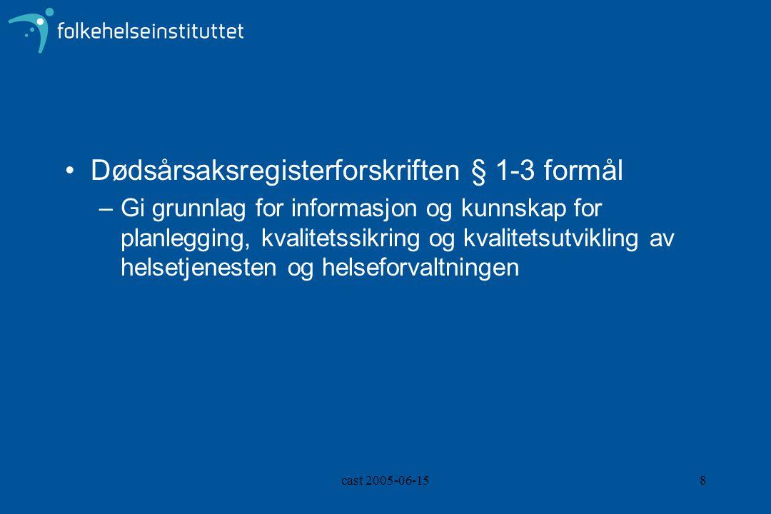 cast 2005-06-158 Dødsårsaksregisterforskriften § 1-3 formål –Gi grunnlag for informasjon og kunnskap for planlegging, kvalitetssikring og kvalitetsutv