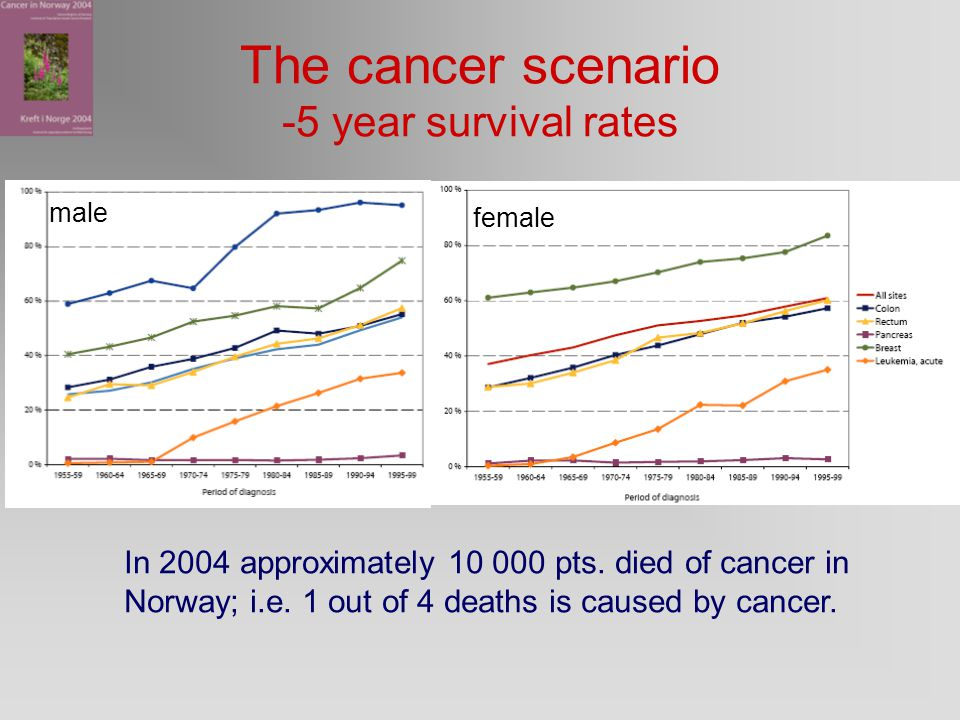 The cancer scenario -5 year survival rates male female In 2004 approximately 10 000 pts.
