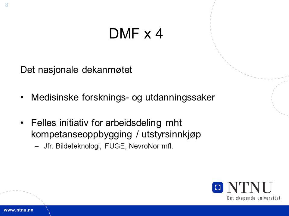 8 DMF x 4 Det nasjonale dekanmøtet Medisinske forsknings- og utdanningssaker Felles initiativ for arbeidsdeling mht kompetanseoppbygging / utstyrsinnkjøp –Jfr.