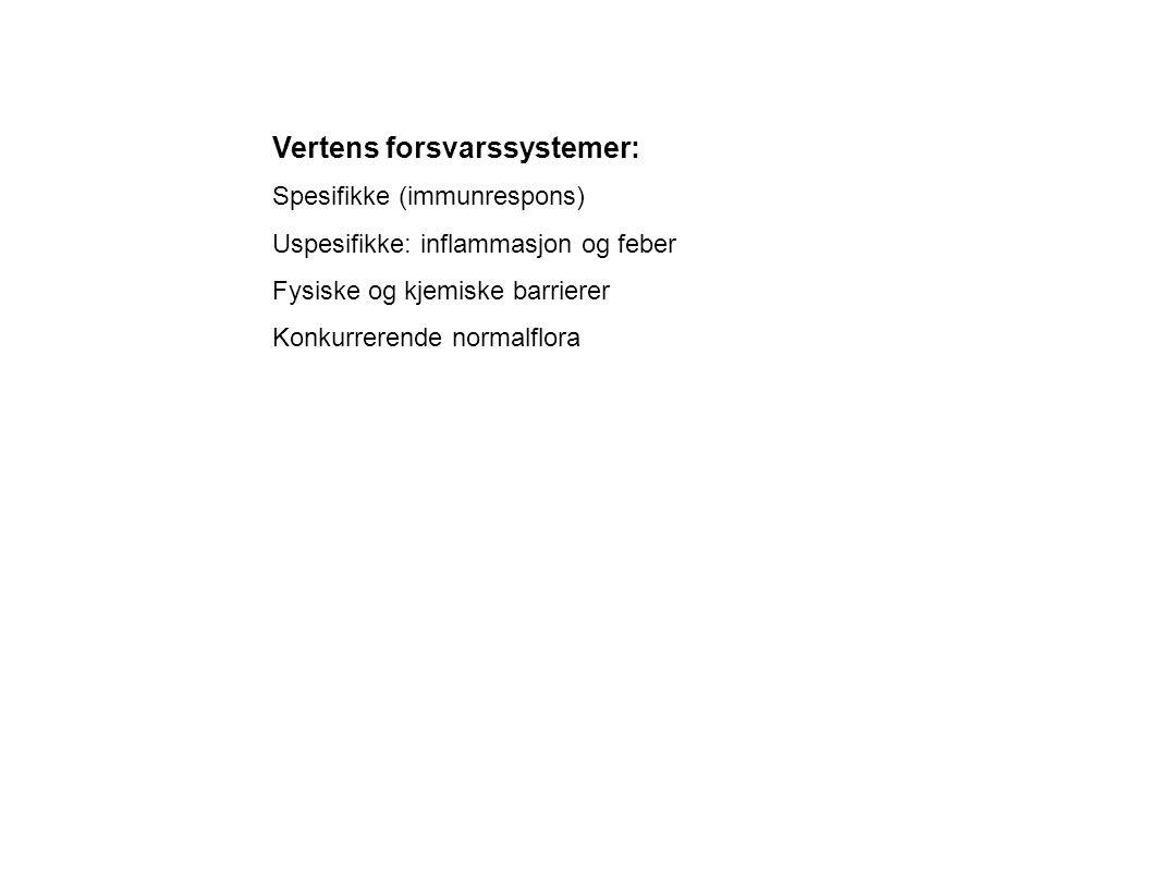 Vertens forsvarssystemer: Spesifikke (immunrespons) Uspesifikke: inflammasjon og feber Fysiske og kjemiske barrierer Konkurrerende normalflora