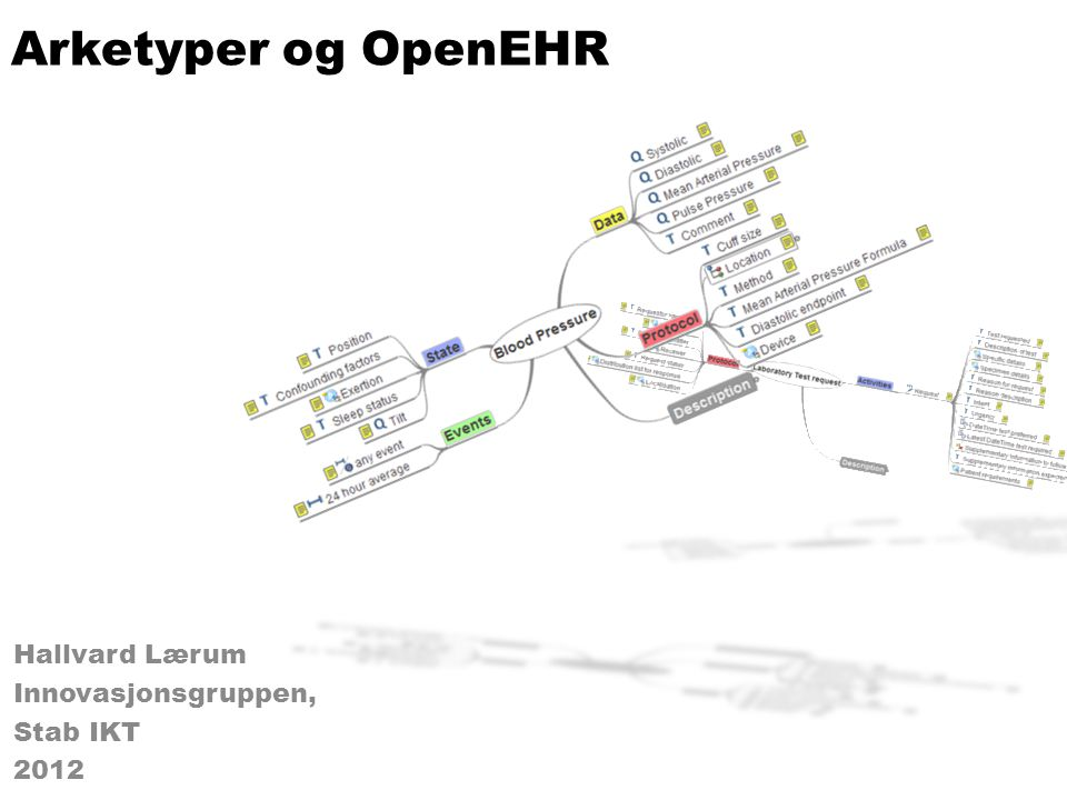 Arketyper og OpenEHR Hallvard Lærum Innovasjonsgruppen, Stab IKT 2012 Hallvard Lærum Innovasjonsgruppen, Stab IKT 2012