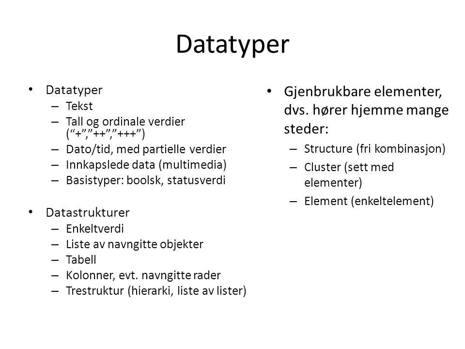 Datatyper – Tekst – Tall og ordinale verdier ( + , ++ , +++ ) – Dato/tid, med partielle verdier – Innkapslede data (multimedia) – Basistyper: boolsk, statusverdi Datastrukturer – Enkeltverdi – Liste av navngitte objekter – Tabell – Kolonner, evt.