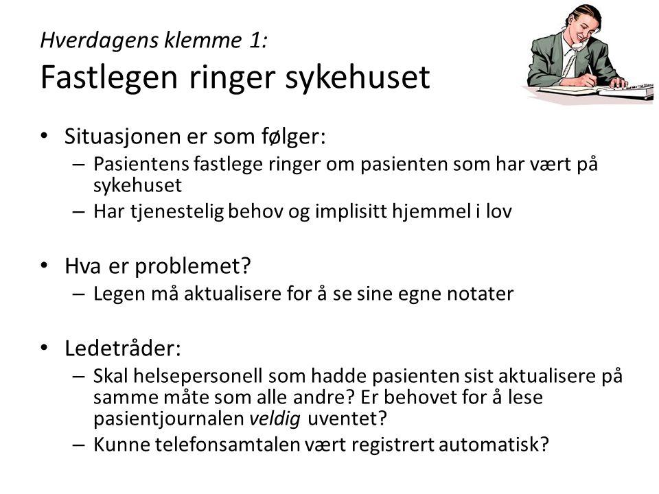 Hverdagens klemme 1: Fastlegen ringer sykehuset Situasjonen er som følger: – Pasientens fastlege ringer om pasienten som har vært på sykehuset – Har t