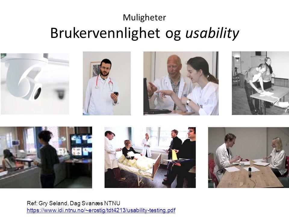 Ref: Gry Seland, Dag Svanæs NTNU https://www.idi.ntnu.no/~erostig/tdt4213/usability-testing.pdf https://www.idi.ntnu.no/~erostig/tdt4213/usability-testing.pdf