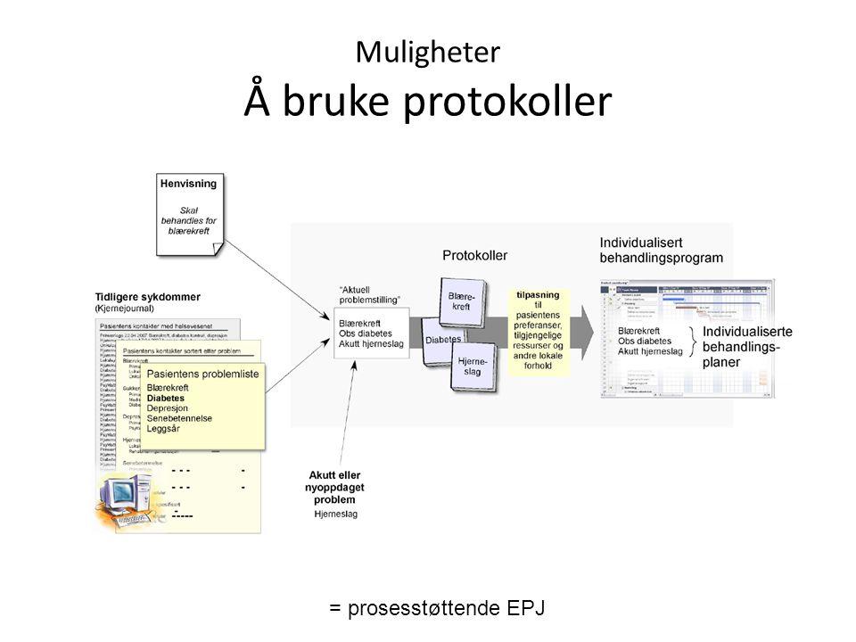 Muligheter Å bruke protokoller = prosesstøttende EPJ