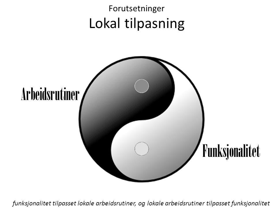 Forutsetninger Lokal tilpasning Arbeidsrutiner Funksjonalitet funksjonalitet tilpasset lokale arbeidsrutiner, og lokale arbeidsrutiner tilpasset funksjonalitet
