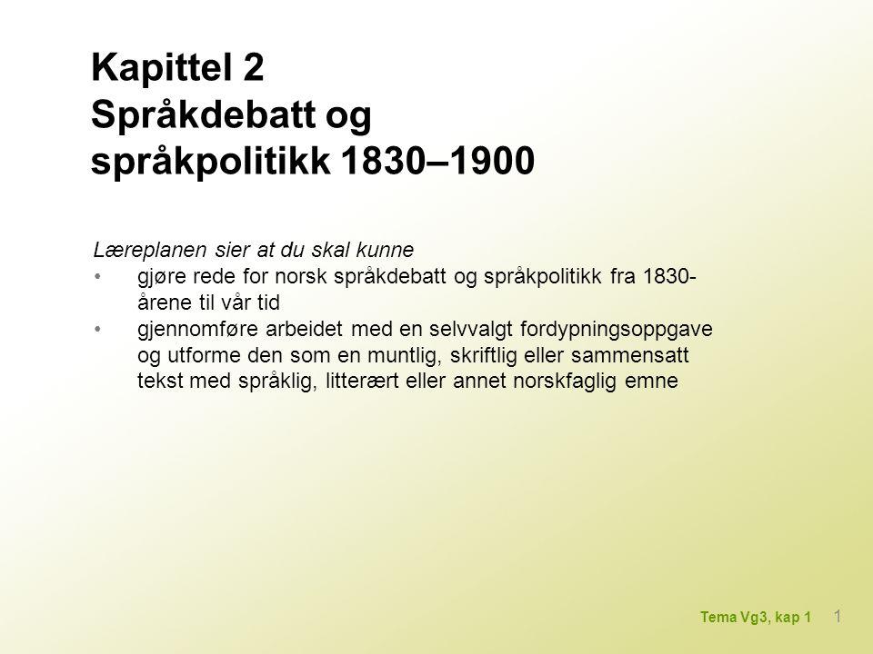 Læreplanen sier at du skal kunne gjøre rede for norsk språkdebatt og språkpolitikk fra 1830- årene til vår tid gjennomføre arbeidet med en selvvalgt fordypningsoppgave og utforme den som en muntlig, skriftlig eller sammensatt tekst med språklig, litterært eller annet norskfaglig emne Kapittel 2 Språkdebatt og språkpolitikk 1830–1900 1 Tema Vg3, kap 1