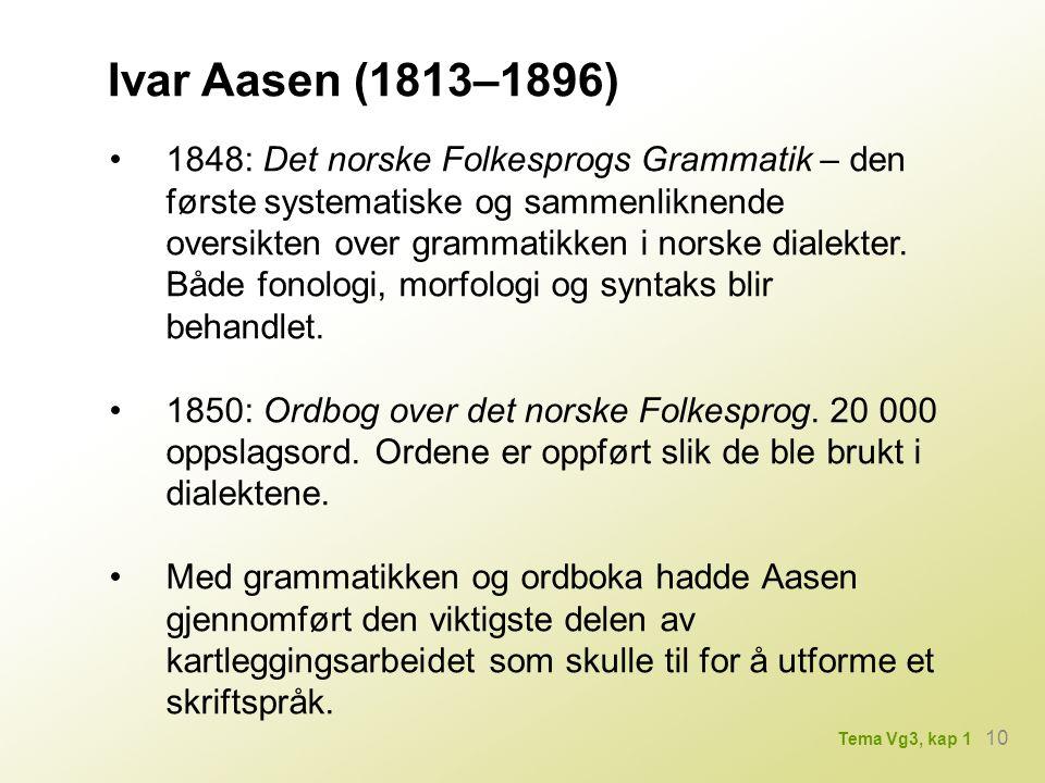 Ivar Aasen (1813–1896) 1848: Det norske Folkesprogs Grammatik – den første systematiske og sammenliknende oversikten over grammatikken i norske dialekter.