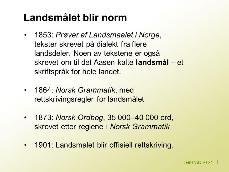 Landsmålet blir norm 1853: Prøver af Landsmaalet i Norge, tekster skrevet på dialekt fra flere landsdeler.