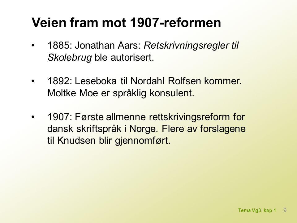 Veien fram mot 1907-reformen 1885: Jonathan Aars: Retskrivningsregler til Skolebrug ble autorisert.