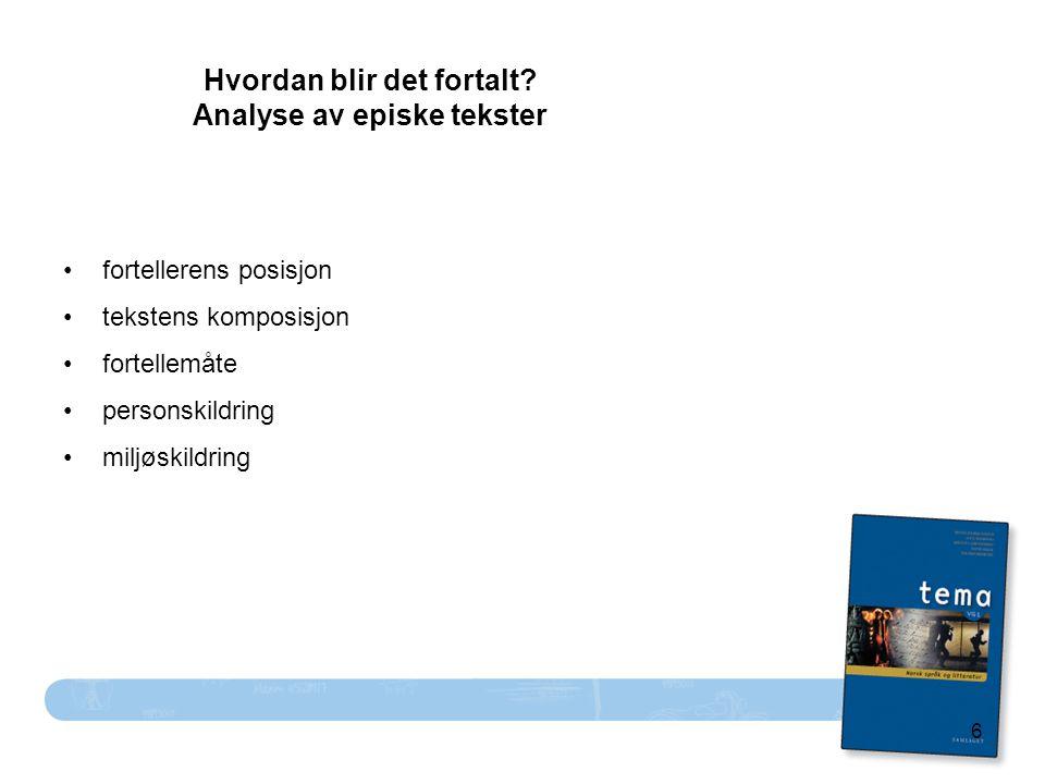 6 Hvordan blir det fortalt? Analyse av episke tekster fortellerens posisjon tekstens komposisjon fortellemåte personskildring miljøskildring