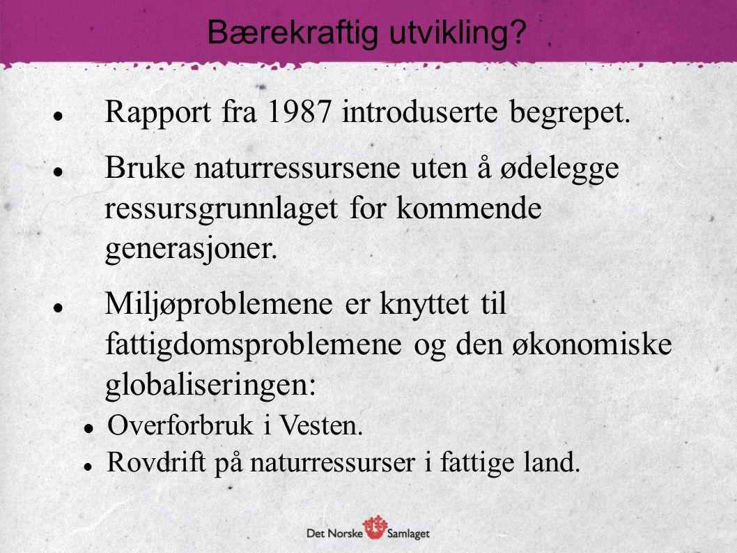 Rapport fra 1987 introduserte begrepet. Bruke naturressursene uten å ødelegge ressursgrunnlaget for kommende generasjoner. Miljøproblemene er knyttet