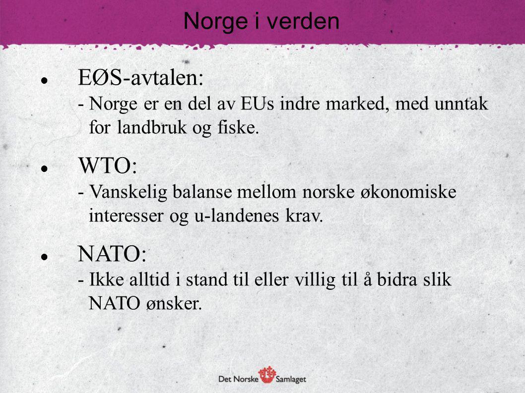 EØS-avtalen: - Norge er en del av EUs indre marked, med unntak for landbruk og fiske. WTO: - Vanskelig balanse mellom norske økonomiske interesser og