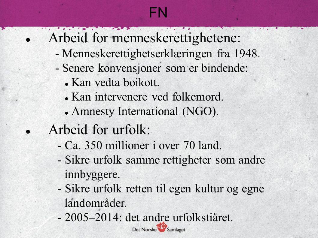 Arbeid for menneskerettighetene: - Menneskerettighetserklæringen fra 1948. - Senere konvensjoner som er bindende: Kan vedta boikott. Kan intervenere v