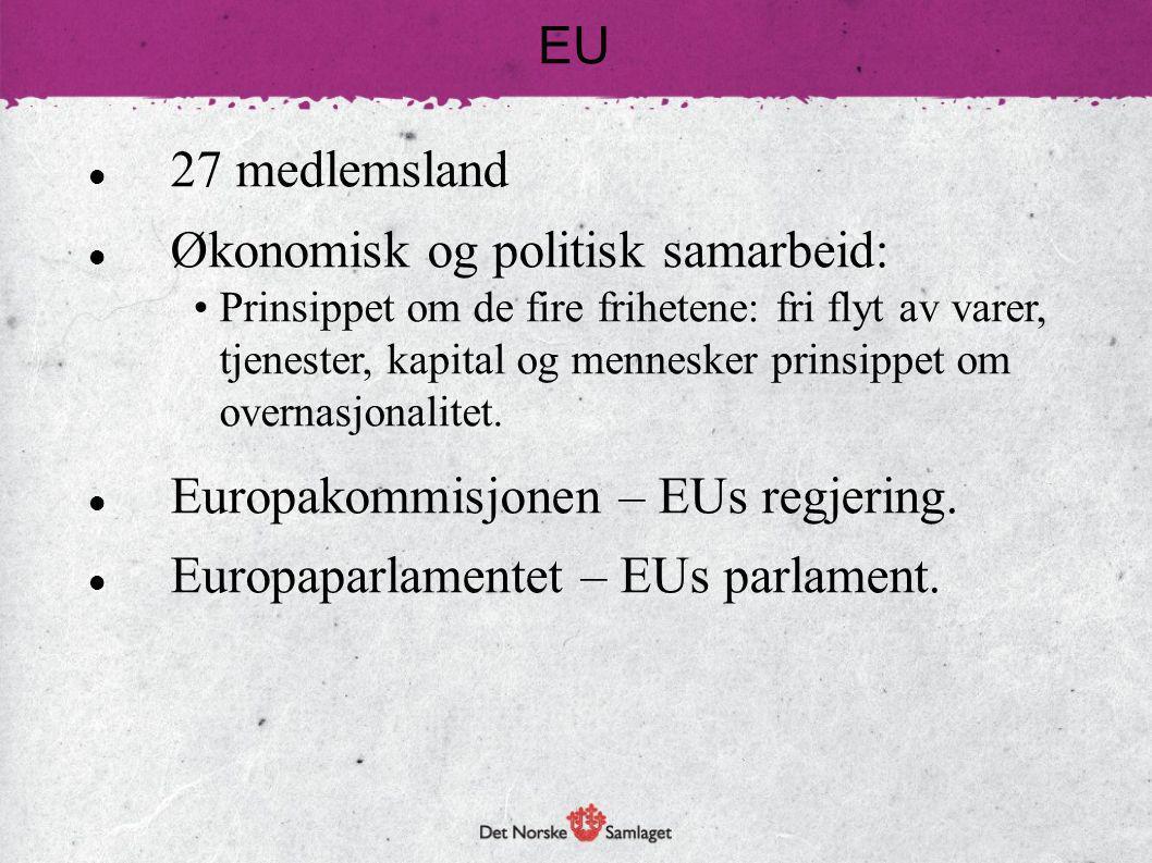 27 medlemsland Økonomisk og politisk samarbeid: Prinsippet om de fire frihetene: fri flyt av varer, tjenester, kapital og mennesker prinsippet om over