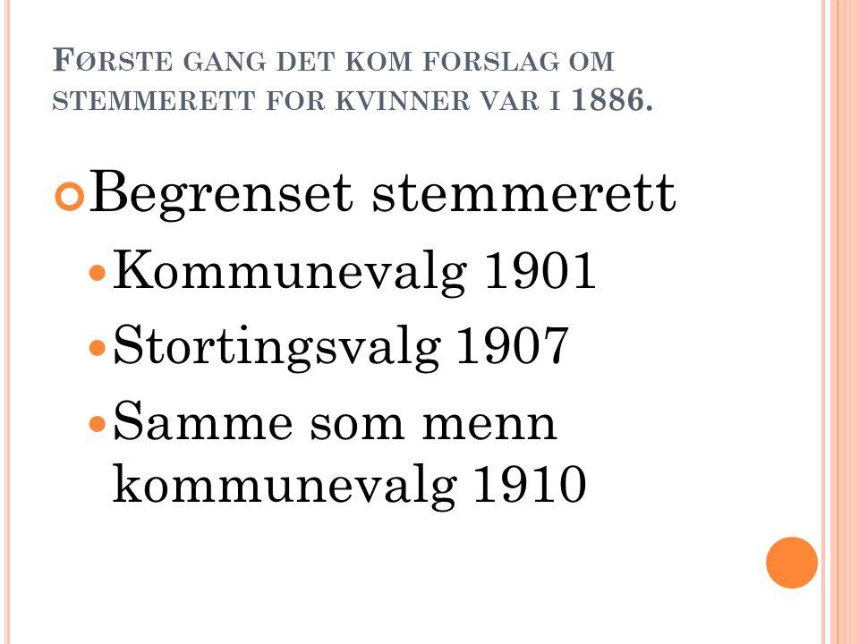 F ØRSTE GANG DET KOM FORSLAG OM STEMMERETT FOR KVINNER VAR I 1886.