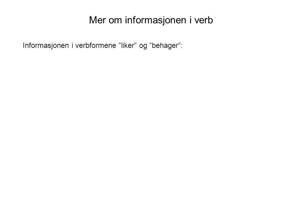 Mer om informasjonen i verb Informasjonen i verbformene liker og behager :